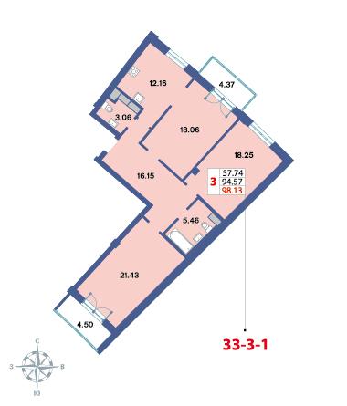 Планировка Трёхкомнатная квартира площадью 97.3 кв.м в ЖК «Три ветра»