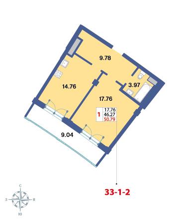 Планировка Однокомнатная квартира площадью 49.4 кв.м в ЖК «Три ветра»