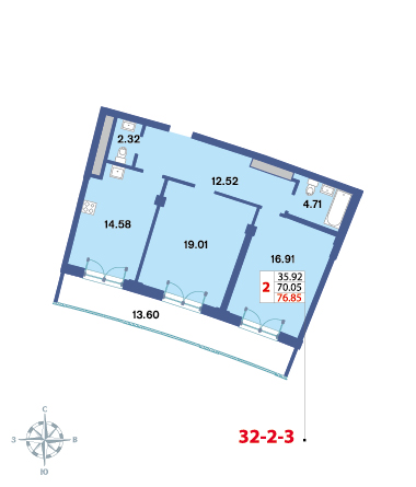 Планировка Двухкомнатная квартира площадью 76.85 кв.м в ЖК «Три ветра»