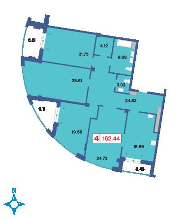 Планировка Четырёхкомнатная квартира площадью 162.8 кв.м в ЖК «Три ветра»