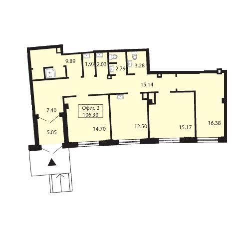 Планировка Коммерческое помещение площадью 105.3 кв.м в ЖК «Три ветра»