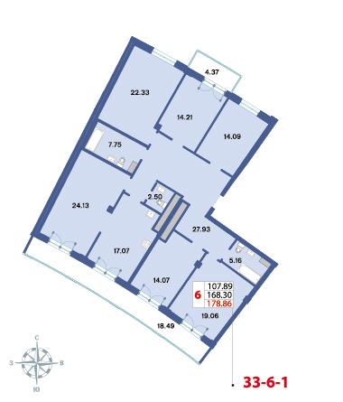 Планировка Шестикомнатные квартиры площадью 176.4 кв.м в ЖК «Три ветра»
