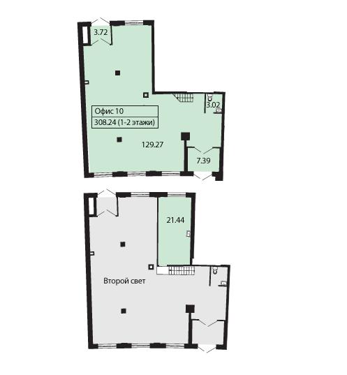 Планировка Коммерческое помещение площадью 165.2 кв.м в ЖК «Три ветра»