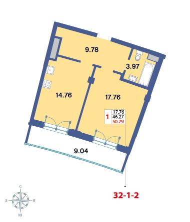 Планировка Однокомнатная квартира площадью 49 кв.м в ЖК «Три ветра»