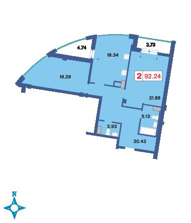 Планировка Двухкомнатная квартира площадью 93.2 кв.м в ЖК «Три ветра»