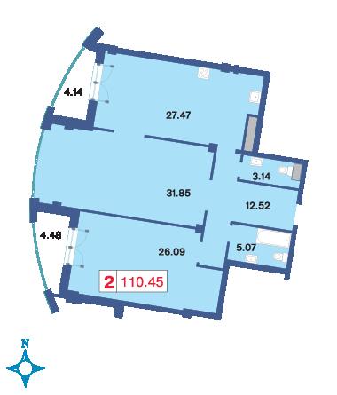 Планировка Двухкомнатная квартира площадью 111.4 кв.м в ЖК «Три ветра»