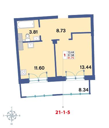 Планировка Однокомнатная квартира площадью 39.7 кв.м в ЖК «Три ветра»