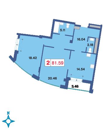 Планировка Двухкомнатная квартира площадью 81.6 кв.м в ЖК «Три ветра»