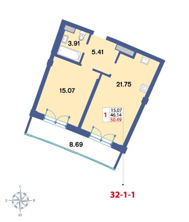 Планировка Однокомнатная квартира площадью 49.2 кв.м в ЖК «Три ветра»