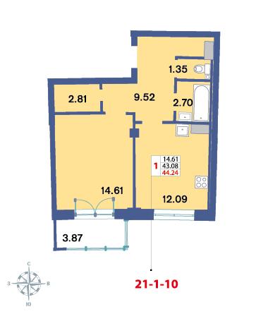 Планировка Однокомнатная квартира площадью 43.3 кв.м в ЖК «Три ветра»